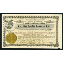 King Airship Company, Ltd., 1920 Stock Certificate.