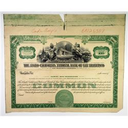 Anglo California National Bank of San Francisco, 1930-50's Proof Stock Certificate.