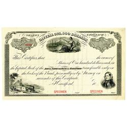 Aetna National Bank of Hartford, 1870-80's, Specimen Stock Certificate