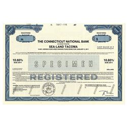Connecticut National Bank - Sea-Land Tacoma, 1987 Specimen Bond