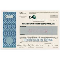 "International Securities Exchange, Inc., ""ISE"" 2005 Specimen Stock Certificate"