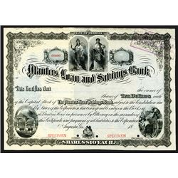 Planter's Loan and Savings Bank, 1885 Specimen Stock Certificate.