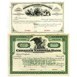 Baltimore National Bank, c.1900-20 Stock Certificate Pair