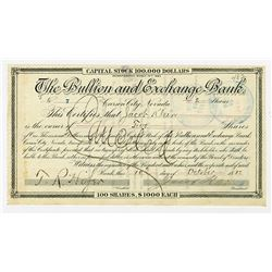 Bullion and Exchange Bank, 1885 Stock Certificate