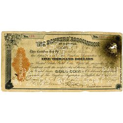 Bankers' Association of Buffalo, ca.1893, $5000 Gold Coin Clearing House Certificate