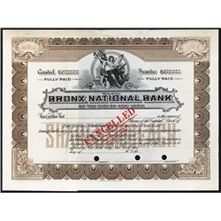 Bronx National Bank of the City of New York, ca.1900-1920 Specimen Stock Certificate.
