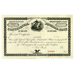 Continental National Bank of the City of New York, ca. 1860-70's Specimen Stock Certificate