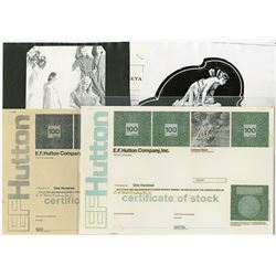 E.F.Hutton Company, Inc., 1972 Unique Essay Design Stock Certificate.