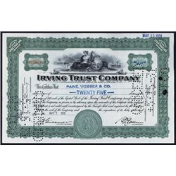 Irving Trust Company 1929-40 I/C Stock Certificate Group of 99.