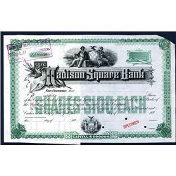 Madison Square Bank, 1890's Specimen Stock Certificate.