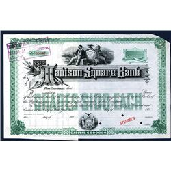 Madison Square Bank, 1890's Specimen Stock Certificate.
