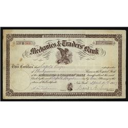 Mechanics & Traders Bank 1907 I/U Stock Certificate.