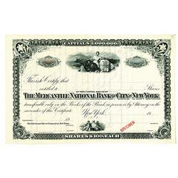 Mercantile National Bank of the City of New York, 1900-1920 Specimen Stock Certificate