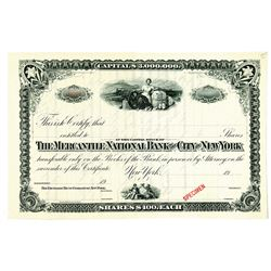Mercantile National Bank of the City of New York, 1900-1920 Specimen Stock Certificate
