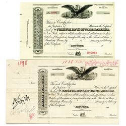 National Bank of North America 1878 & 1900 Specimen Stock Certificate and Proof Pair