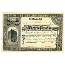 National Bank of the Republic of New York, ca.1880's Specimen Stock Certificate