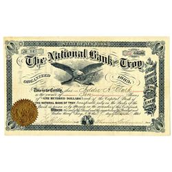 National Bank of Troy 1884 I/U Stock Certificate