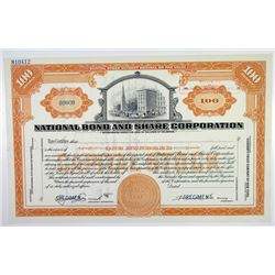 National Bond and Share Corp. ca. 1929 Specimen Stock Certificate