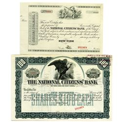 National Citizens' Bank of the City of New York 1900-1930 Specimen Stock Certificate Pair