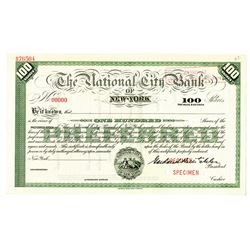 National City Bank of New York, 1900-20 Specimen Stock Certificate