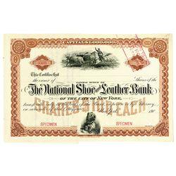 National Shoe and Leather Bank of the City of New York1900-1909 Specimen Stock Certificate