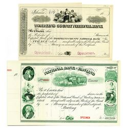 New York Banking Stock Certificate Pair ca.1870-90 & 1900-1920
