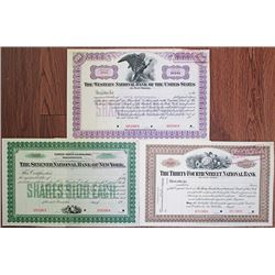 New York City, 1900-1930 National Bank Stock Certificate Trio