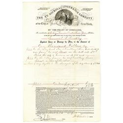 St. Nicholas Insurance Co. of the City of New York, 1856 Policy and Envelope