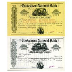 Tradesmen's National Bank of the City of New York,1870-80's Specimen Stock Certificate Pair