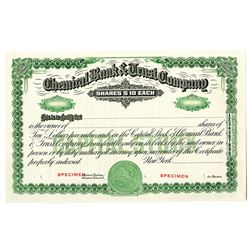 Chemical Bank & Trust Co., 1920-40 Specimen Stock Certificate