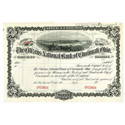 Citizens National Bank of Cincinnati, Ohio, 1900-20 Specimen Stock Certificate