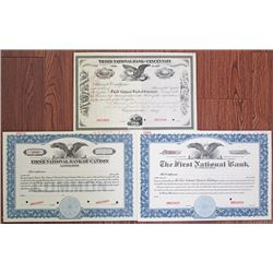 Ohio National Bank,1882 to 1930's Specimen Stock Certificate Trio