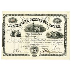 Keystone National Bank, 1888 I/U Stock Certificate