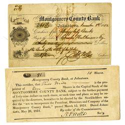 Montgomery County Bank, 1831 I/U Stock Certificate.