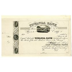 Towanda Bank 1830-40's Proof Stock Certificate