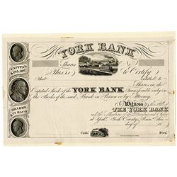 York Bank 1830-40's Proof Stock Certificate.