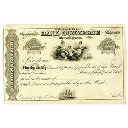 Bank of Commerce in Providence, 1870-80's Specimen Stock Certificate Used as a Model with Changes Ad