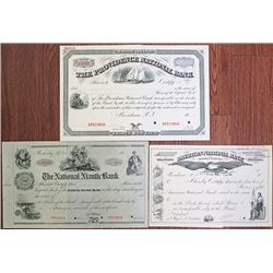 Rhode Island National Bank ca.1870-1920's Specimen Stock Certificate Trio