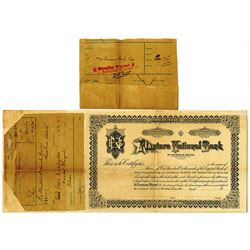 Planters National Bank of Rosebud, Texas 1906 Specimen Stock Certificate with Stock Order Forms