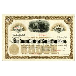 Vermont National Bank of Brattleboro, 1880's Specimen Stock Certificate