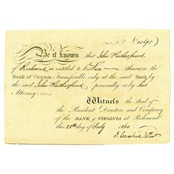 Bank of Virginia 1860 I/U Stock Certificate