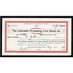 Colorado-Wyoming Live Stock Co. 1906 I/U Stock Certificate.