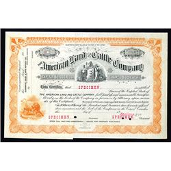 American Land and Cattle Co., ca.1880-1900 Specimen Stock