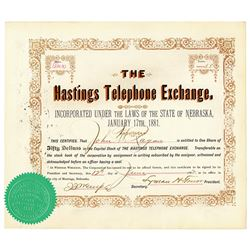Hastings Telephone Exchange 1882 I/U Stock Certificate