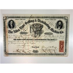 Alden Type Setting & Distributing Machine Co., 1867 Cancelled Stock Certificate