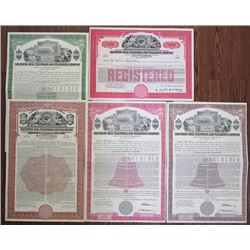 Southern Bell Telephone and Telegraph Co., 1958 Specimen Bond Lot of 5