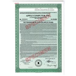Apple Computer, Inc., 1996 Specimen Coupon Bond