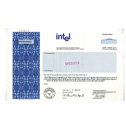 Intel Corporation, 1989 IPO Specimen Stock Certificate