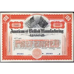 American and British Manufacturing Co. Specimen Stock Certificate