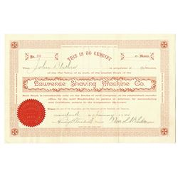 Lawrence Shaving Machine Co. 1894 Stock Certificate